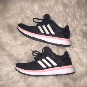 size 6 black & pink adidas shoes
